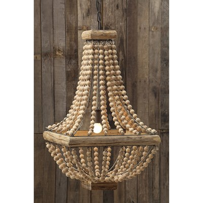 "28"" Metal Chandelier with Wood Beads"