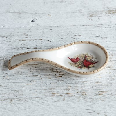 Stoneware Woodland Cardinal Spoon Rest