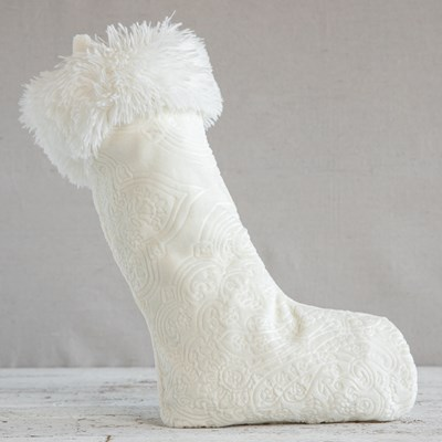 Embossed Sherpa Faux Fur Stocking