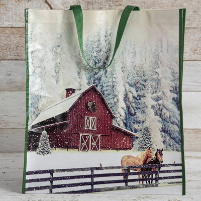 Red Barn with Horse Reusable Tote Bag