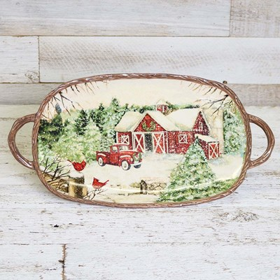 Stoneware Winter Scene Large Oval Platter with Handles
