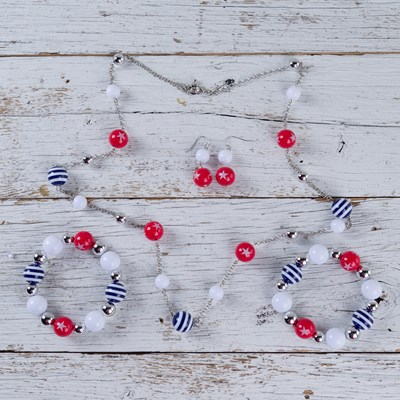 Red, White and Blue 3-Piece Jewelry Set
