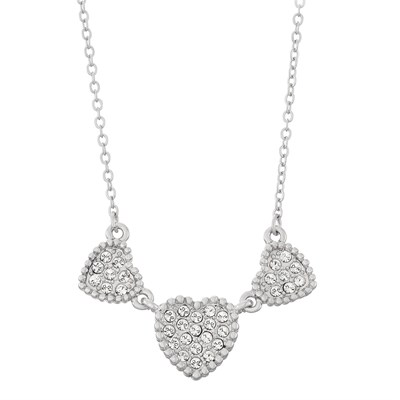 Swarovski Crystal Heart Necklace - Rhodium