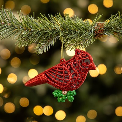 Mirrored Cardinal with Glitter Lace Ornament