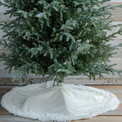 Embossed Sherpa Faux Fur Christmas Tree Skirt