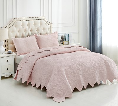 Pink Wholecloth Quilt - Queen