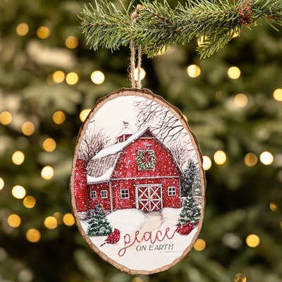 """Peace on Earth"" Barn Wood Slice Ornament"