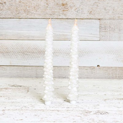 White Glitter Christmas Tree LED Taper Candles