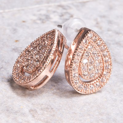 Rose Gold Pave Teardrop Stud Earring