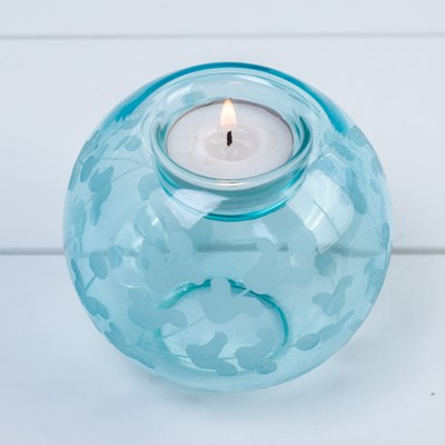 Etched Glass Tealight Holder - Blue