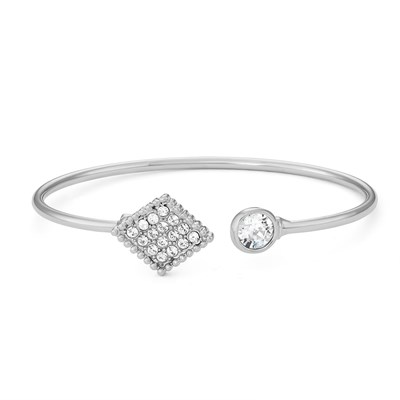 Swarovski Crystal Diamond Bangle Bracelet - Rhodium