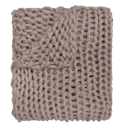 Chunky Knitted Throw - Taupe