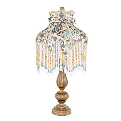 Floral and Fringe Rustic Table Lamp