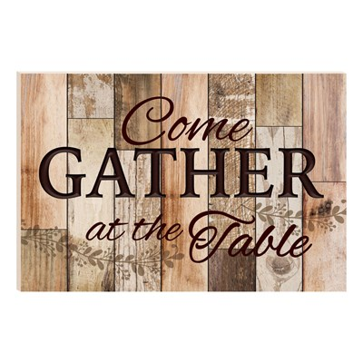 """Come Gather At The Table"" Carved Barn Board Wall Decor"