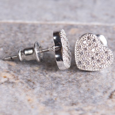 Silver Pave Heart Stud Earring