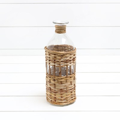 Glass Bottle Vase with Natural Wood Wrap