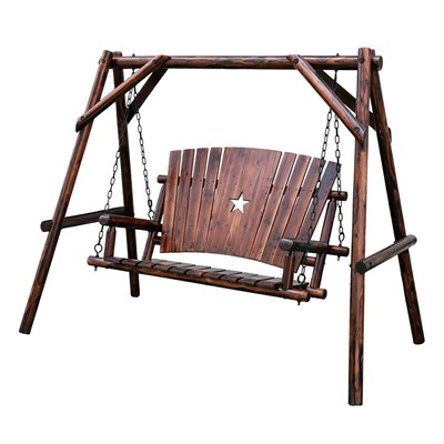 Char-Log Wooden 4' Porch Swing with Stand