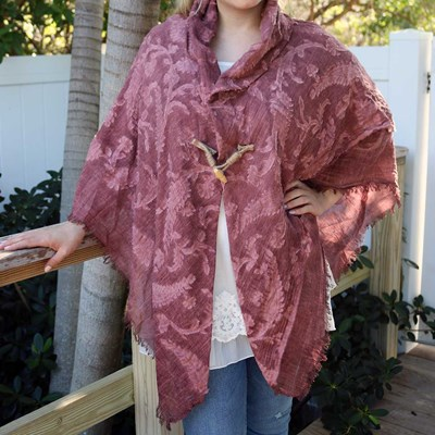 Floral Texture Toggle Shawl