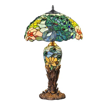 Stained Glass Peacock Double-Lit Table Lamp