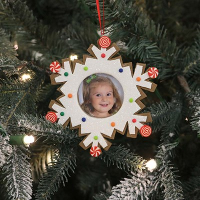 Gingerbread Snowflake Photo Frame Ornament