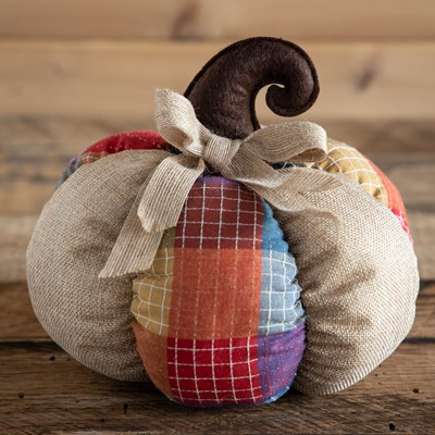 Decorative Patchwork Fabric Pumpkin