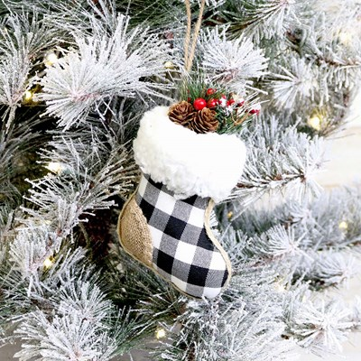 Black and White Plaid Stocking Ornament