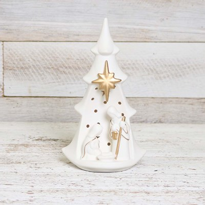 Ceramic Light Up Holy Family with Tree