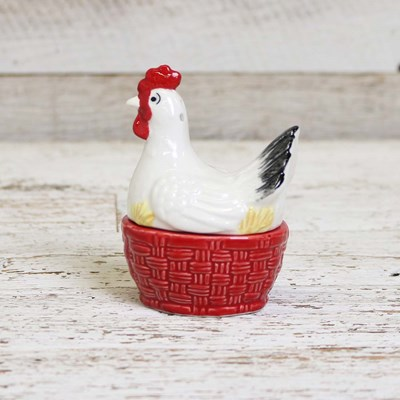 Hen and Basket Salt and Pepper Set