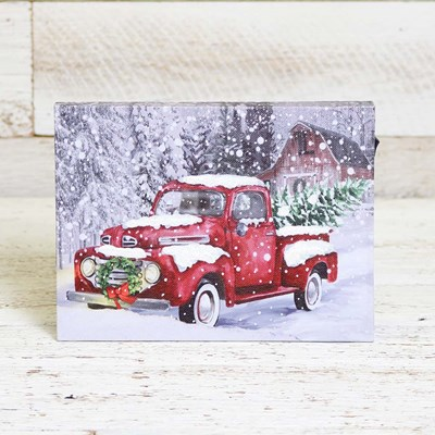 LED Red Truck Mini Canvas