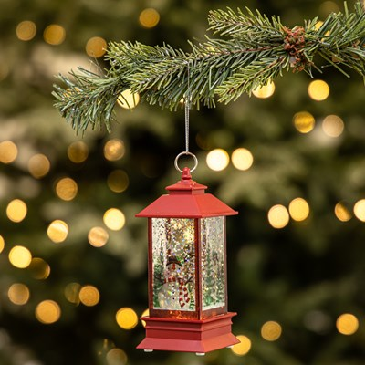 Light-Up Glitter Lantern with Snowman Ornament