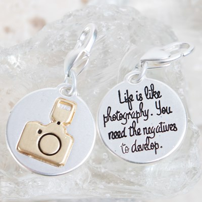 """Life Is Like Photography"" Camera Charm"
