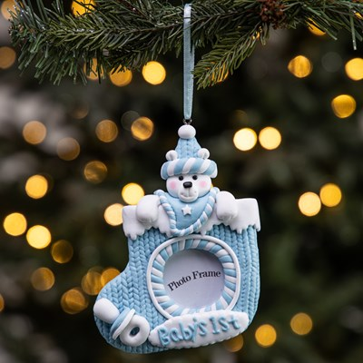 """Baby's 1st"" Christmas Frame Ornament - Blue"