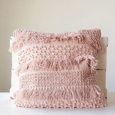 Square Cotton Fringe Pillow - Pale Pink
