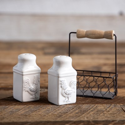 Salt and Pepper Shaker Set with Metal Basket