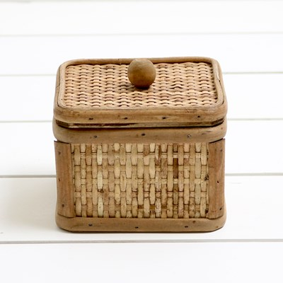 Woven Wooden Box with Lid