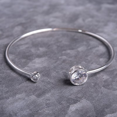 Silver Bezel Set Bangle Bracelet