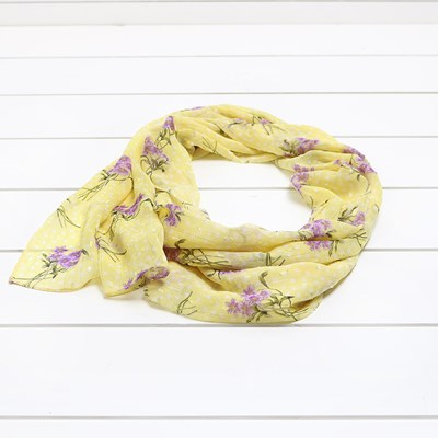 Metallic Striped Floral Scarf