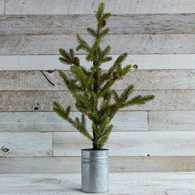 "27"" Artificial Potted Pine Tree with Galvanized Metal Base"