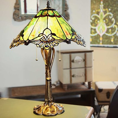 Tiffany Style Stained Glass Victorian Crystal Lace Table Lamp - Sea Green