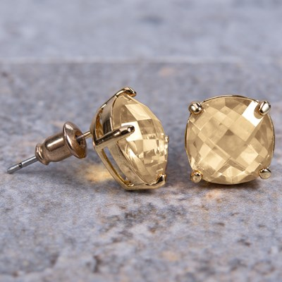 Gold Cushion-Cut Crystal Stud Earring