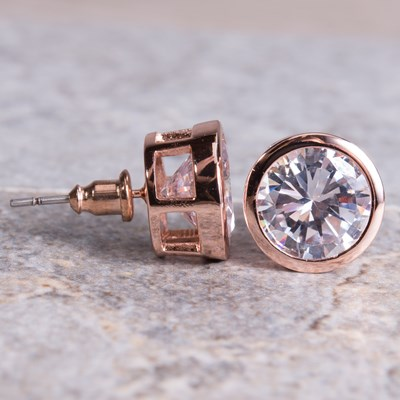 Rose Gold Bezel Set Stud Earring