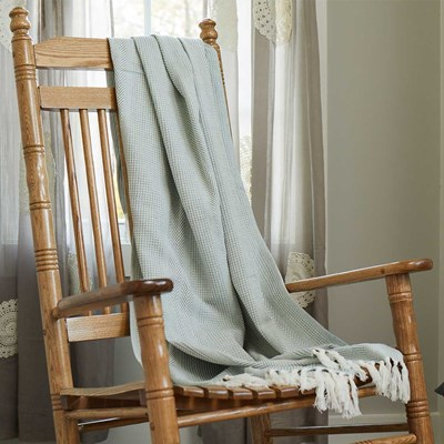 Cotton Woven Jacquard Throw - Green