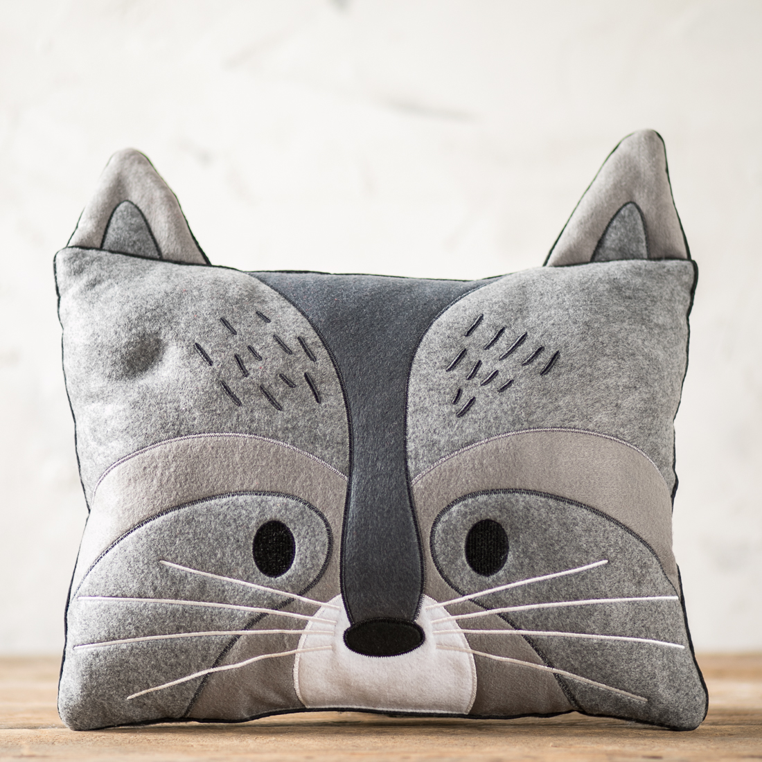 Felt Raccoon Pillow