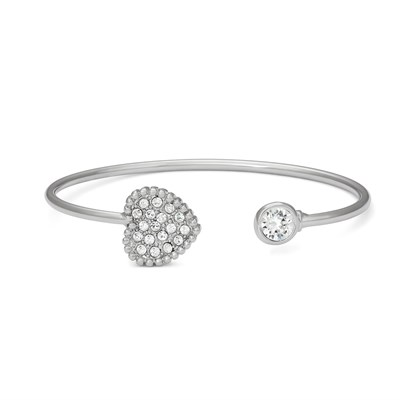 Swarovski Crystal Heart Bangle Bracelet - Rhodium