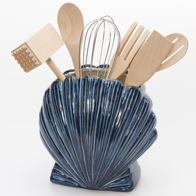 Stoneware Utensil Holder with Tools