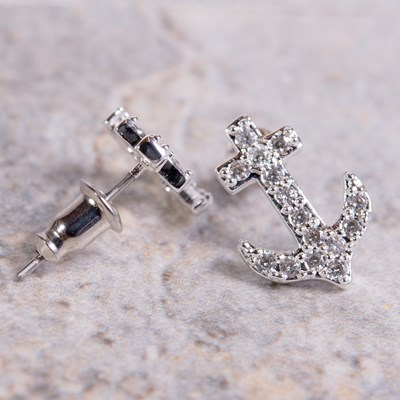 Silver Cubic Zirconia Anchor Stud Earring