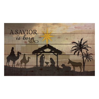 """A Savior is Born"" Pine Pallet Wall Decor"