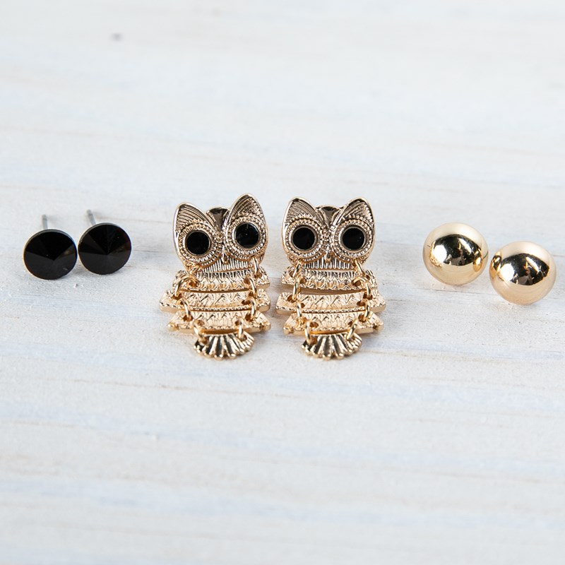 3 Piece Owl Earring Set 0
