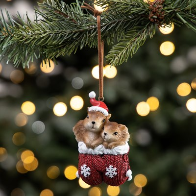Squirrels in Mittens Ornament
