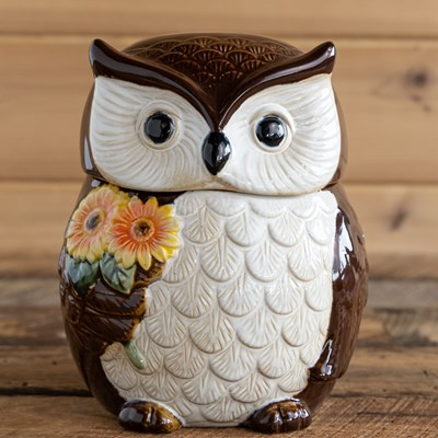 Stoneware Owl Cookie Jar
